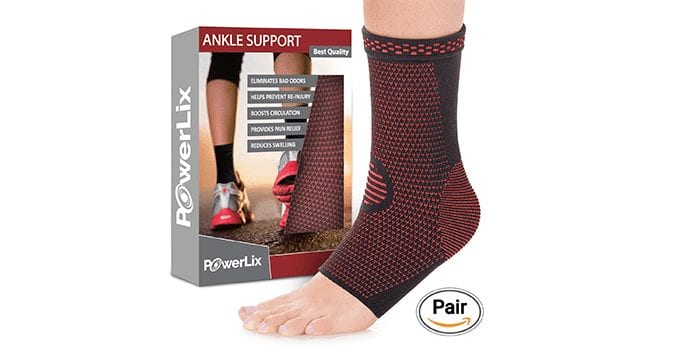 Ankle Brace Compression Support Sleeve by PowerLix