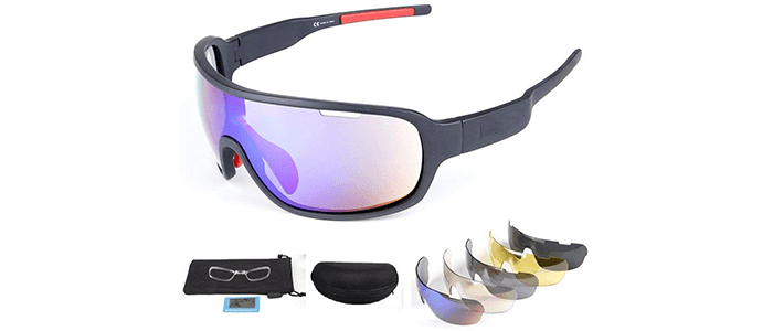 Lorsoul Sports Polarized Sunglasses UV400 Along With 5 Interchangeable Lenses