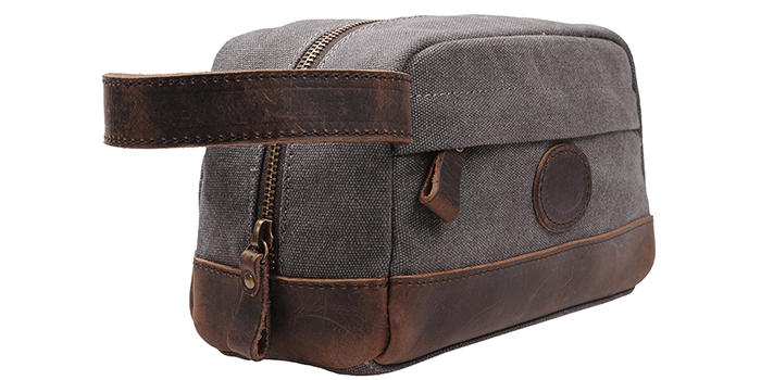 MSG Vintage Leather Travel Toiletry Bag (Grey)