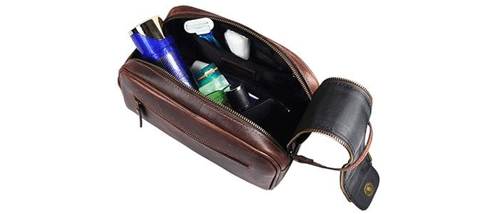 Aaron Leather Goods Toiletry Bag for Men