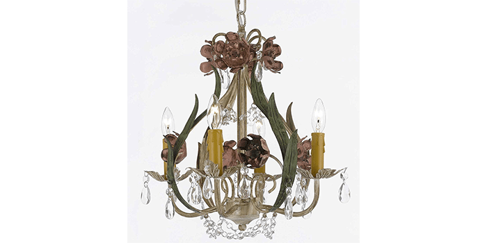 Floral Wrought Iron & Crystal Chandelier