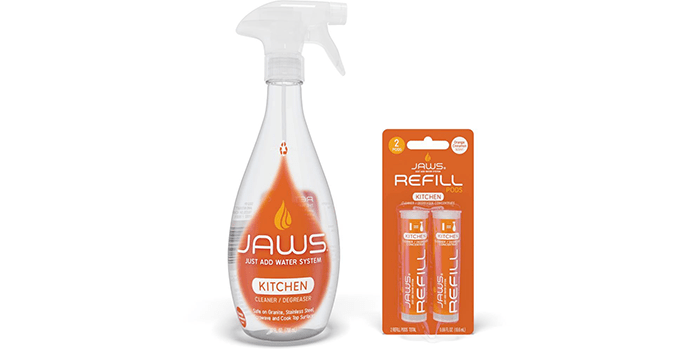 Jaws Kitchen Cleaner Degreaser Bottle & 2 Refill Pods