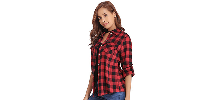 Abollria Women's Boyfriend Button Down Plaid Flannel Shirt