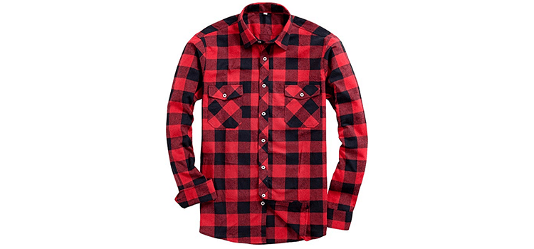 Alimens & Gentle Men's Button Down Plaid Flannel Casual Shirt