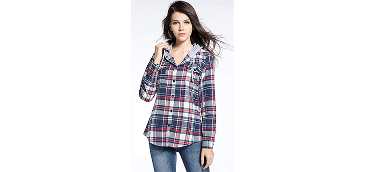 BomDeals Women's Classic Plaid Cotton Flannel Shirt