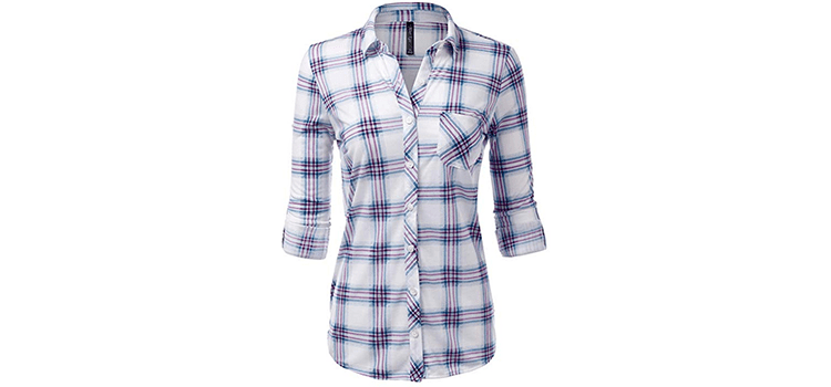 JJ Perfection Womens Button Down Plaid Flannel Shirt