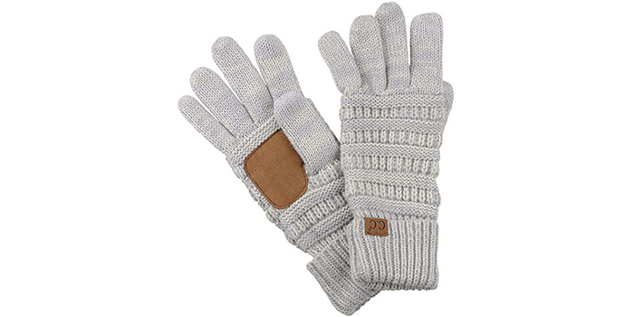 CC Unisex Cable Knit Winter Touchscreen Texting Gloves