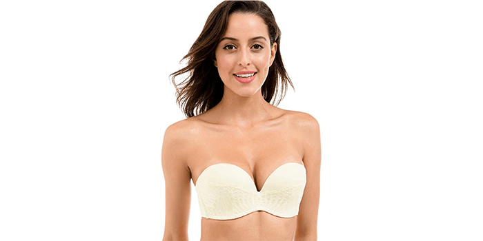 DELIMIRA Women's Lace Underwired Strapless Bra