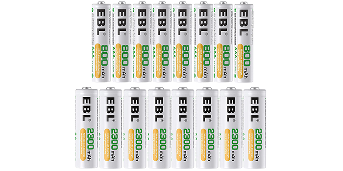 EBL 16 Sets AA & AAA Rechargeable Batteries Combo