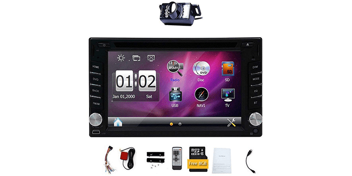 EINCAR Double 2 DIN Car DVD CD Video Player Bluetooth GPS