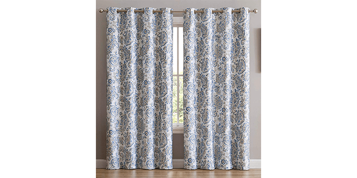 HLCME Amalfi Paisley 100% Blackout Thermal Lined Curtain